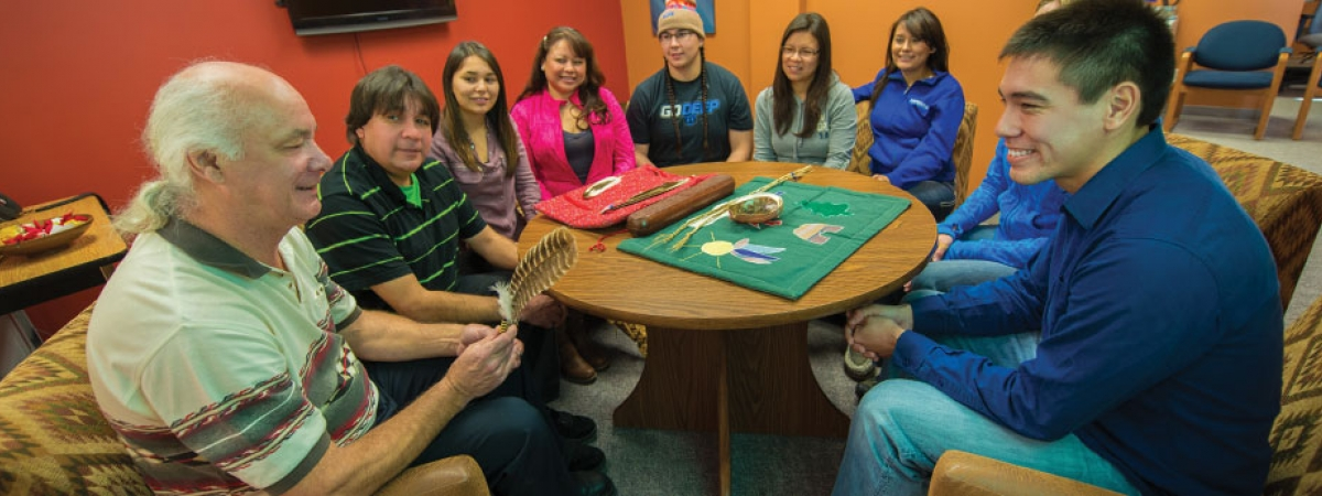 students meeting in the Office of Indigenous Initiatives