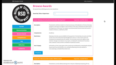 How to Add an Award to your RSD Account