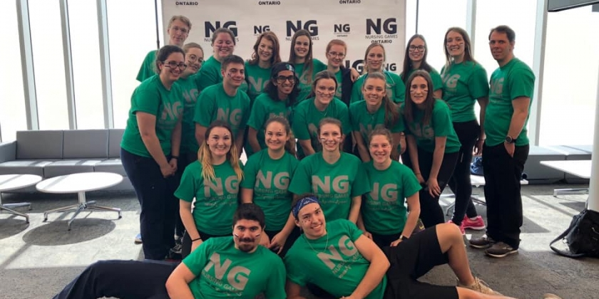 Picture of a group of students in green shirts for nursing games