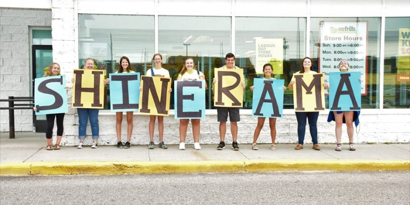 Picture of group of students holding letters to spell out Shinerama