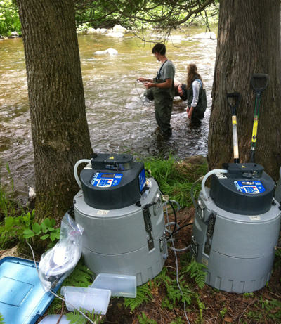 students collecting hydrology data